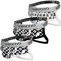 Men's Jockstrap Underwear Wide Waistband Briefs, Cotton Athletic Supporter Jockstraps for Men