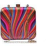 Sugarcrush Women's Hand Box Clutch Purse With Detachable Sling (Multicolor)