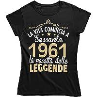 Vulfire Maglietta Donna Idea Regalo per Compleanno, 1961 La Vita Comincia a sessanta la Nascita delle Leggende, Festa…