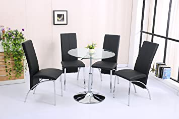 alto round clear glass top height adjustable dining table and 4 chairs  with 4 chairs alto round clear glass top height adjustable dining table and 4      rh   amazon co uk
