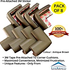 LifeKrafts Pack of 8 Thick Rubber Cushions (Color- Antique Brown) Table Corner Guard Protector for Baby/Toddler / Child Safety by Color Myles