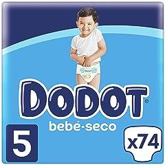 Dodot Bebé-Seco Pañales Talla 5, 74 Pañales, 11-16kg, Hasta 12h de Protección Anti-fugas