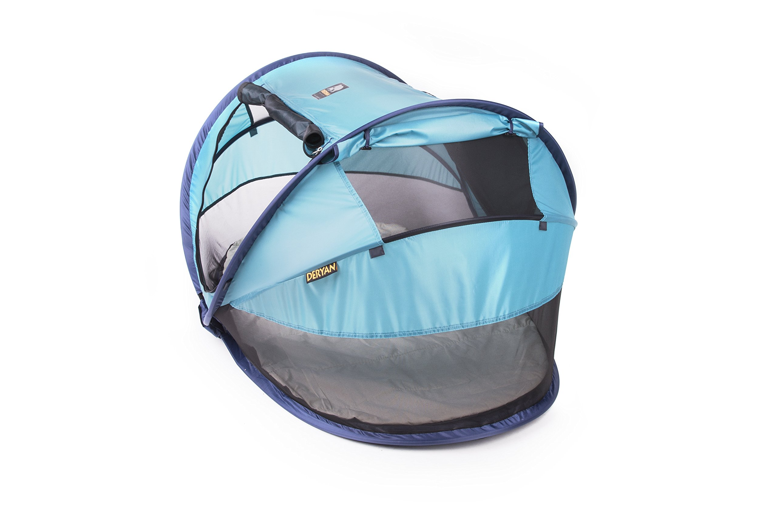 Travel Cot Peuter Luxe (Ocean) Deryan 50% UV Protection and flame retardant fabric Setup in 2 seconds and a anti-musquito net  5