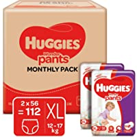 Huggies Wonder Pants, Monthly Box Pack Diapers, Extra Large (XL) (12 - 17 kg), 112 Count