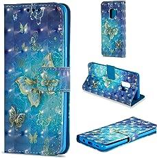 Shinyzone Flip Brieftasche Hülle für Samsung Galaxy S9 Plus,Gold Schmetterling 3D Bunt Gemälde 2 in 1 Buchstil Ledertasche mit Kartenfach und Magnetverschluss Standfunktion Handyhülle für Samsung Galaxy S9 Plus