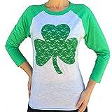 SoRock Women's St. Patrick's Day Lace Shamrock 3/4 Sleeve Tshirt (Runs a Size Big)