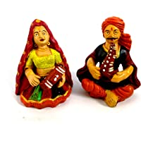 SPK Home decor Handmade Terracotta Rajasthani Musical Dolls (Clay, 10 X10 cm) -Pack of 2