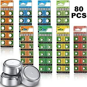 80 Pezzi 1.5V Batteria a Bottone AG0 AG1 AG3 AG4 AG7 AG10 AG13 LR44 Batteria a Bottone per Accessori per Dispositivi Elettronici