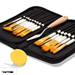 KABEER ART 15 Pcs Paint Brush Set Includes Pop-up Carrying Case with Palette Knife and 1 Sponge for Acrylic, Oil...