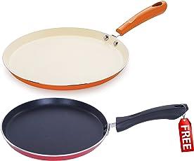 Nirlon Non-Stick Aluminium Cookware Set, 2-Pieces, Orange (CC_FT28_MC_FT20_Free)