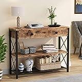 Tribesigns Table Console avec tiroir et étagères de Rangement à 2 Niveaux, Table de Couloir Console d'entrée Industrielle en