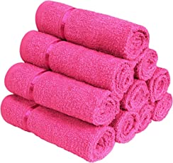 Story@Home 100% Cotton Soft Towel Set of 10 Pieces, 450 GSM - 10 Face Towels - Pink