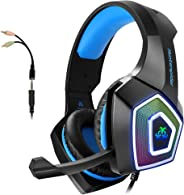 Gaming Headset with Mic for Xbox One PS4 PC Switch Tablet Smartphone, Headphones Stereo Over Ear Bass 3.5mm Microphone Noise