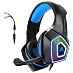 Gaming Headset with Mic for Xbox One PS4 PC Switch Tablet Smartphone, Headphones Stereo Over Ear Bass 3.5mm Microphone...