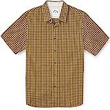 Dubinik® Camisa de Manga Corta de Algodón a Cuadros Casual con Bolsillos para Hombre Regular Fit Western