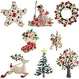 TSLBW 8 Pezzi di Spilla di Natale Gioielli Seno Pin Pupazzo di Neve Albero di Natale Calza di Natale Alce Santa Spilla Spille