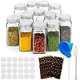 RUBY Pot A Epices En Verre Bocaux Epices Avec Etiquettes,12 Pièces 120ML Bocal Epices Set Epices Cuisine Rangement Pots Depic