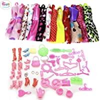 iDream 10pcs Doll Dress & 50pcs Doll Accessories (Combo Pack) Compatible with Any Doll