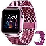 GOKOO Smartwatch voor dames, intelligent fitnesshorloge, IP68, waterdicht, hartslagmeter, training, slaapbewaking, Bluetooth,