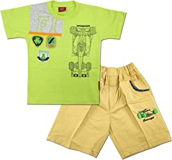Kid's Care Summer Printed Cotton T-Shirt and Denim Half Pant/Capri Set for Boys(8141)