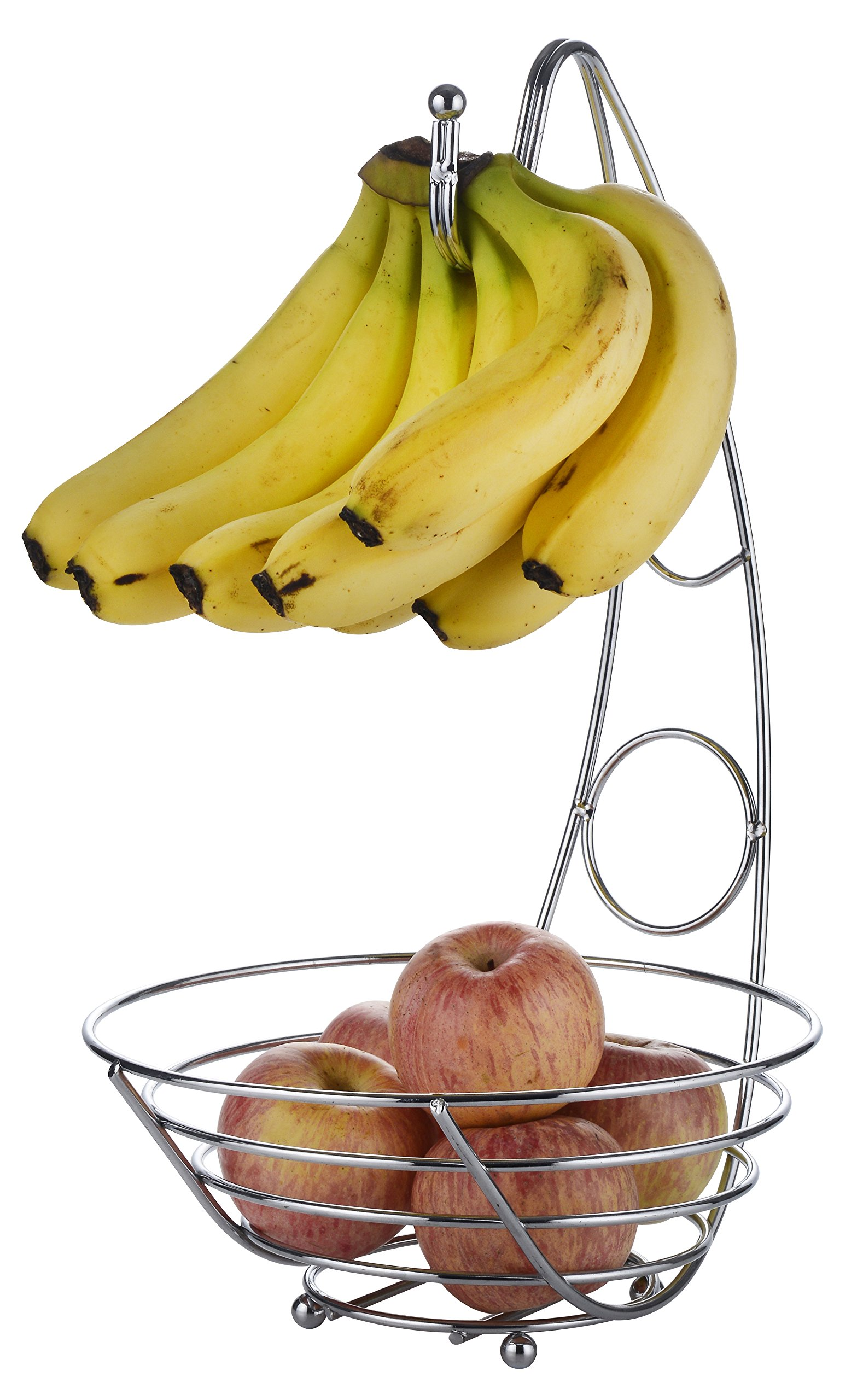 EXZACT EX-FB017 Fruit Basket 43 cm Tall, Wired Fruit Bowl with Banana Hook, Silvery Chrome Finish (Fruit Basket)