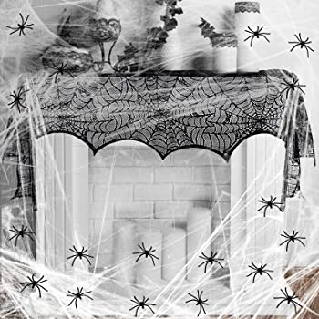9x Spinnennetze Spinnenweben Spinnennetz Plastikspinnen Helloween