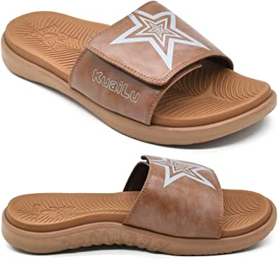 KuaiLu Mens Orthotic Leather Sandals Plantar Fasciitis Arch Support Athletic Slide Sandals For Men Adjustable Comfort Slippers With Soft Cushioning For Outdoor