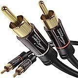 KabelDirekt – Cinch Audio Kabel – 2m (Koaxialkabel geeignet für Verstärker, Stereoanlangen, HiFi Anlagen & andere Geräte mit