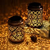 Solar Lanterns Outdoor Waterproof, Orenic 2 Pack Hanging Solar Garden Lights with Handle, Metal Hollow-Out Outdoor Solar Powe
