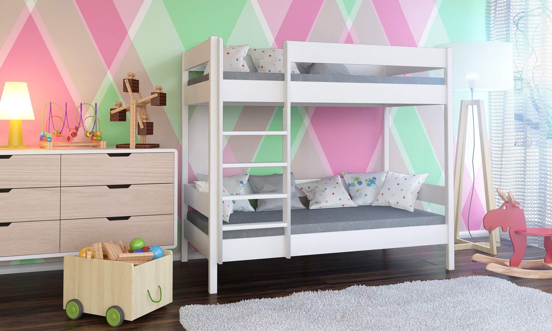 Struttura Per Letto A Castello.Dino Bunk Bed Struttura Per Letto A Castello Per Bambini In Legno Con Ingresso Frontale Legno White 140x70x160