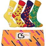 CREA SOCKS Chaussettes amusantes pour homme, funky, funky, colorées Silly Chaussettes pour cadeaux, coton, cadeaux pour homme