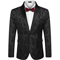 COOFANDY Men's Tuxedo Jacket Suit Modern Luxury Stylish Suit Jacket Blazer with Floral Pattern Paisley for Dinner…