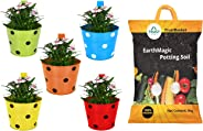 Trust Basket Single Pot Railing Planter (Multicolour, Pack of 5) and Trust Basket Enriched Organic Earth Magic Potting Soil Fertilizer for Plants, 5 Kg