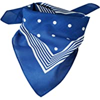 Royal Blue With White Stripes & Polka Dot Bandana Neckerchief