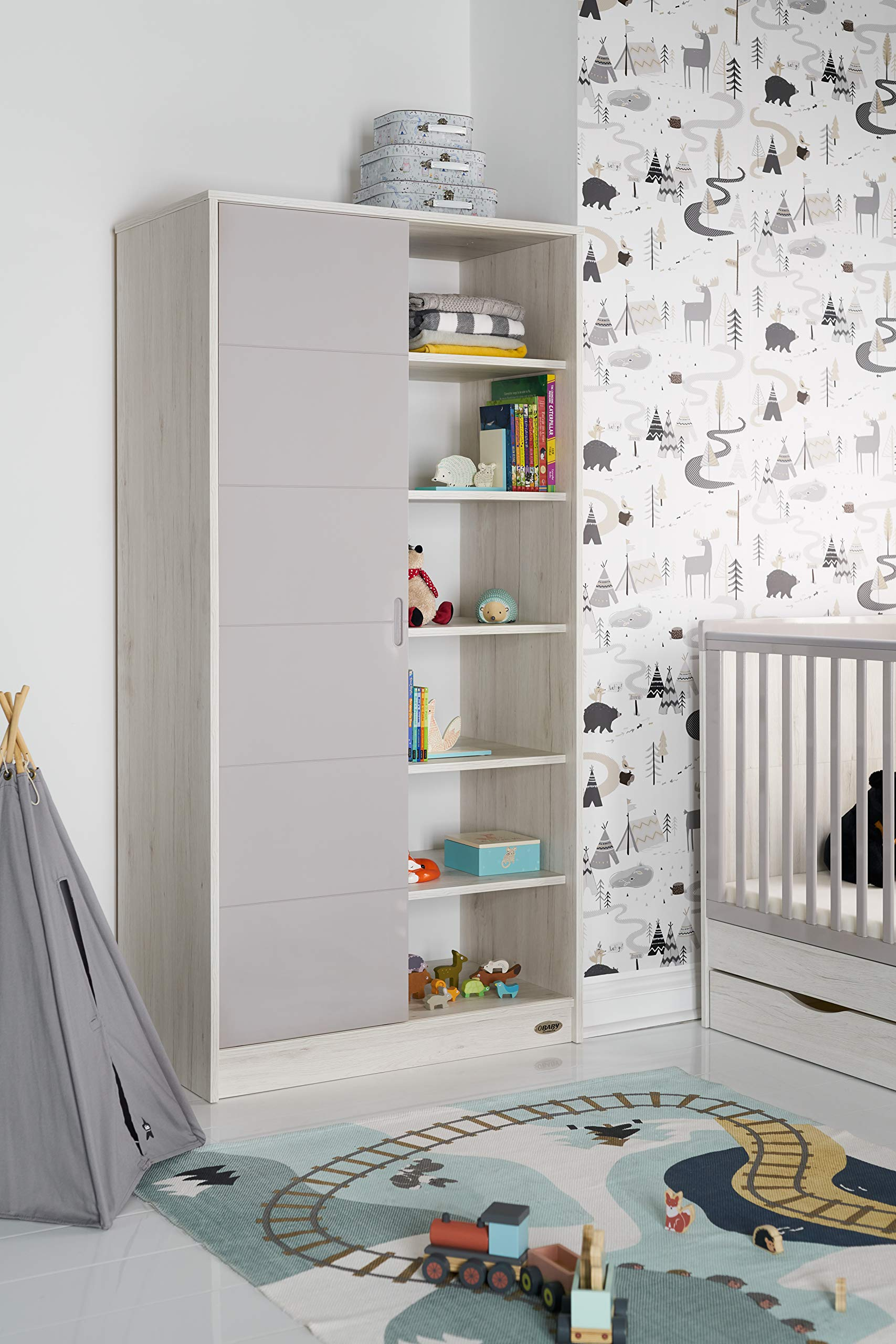 Obaby Madrid Double Wardrobe, Lunar Obaby One side offers two hanging rails and one fixed shelf The other side offers 6 deep fixed shelves Gloss sliding door is reversible and offers easy access to both sides 1
