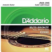 D'Addario EZ890 Great American Super Light (.009 -.045) Acoustic Guitar Strings, Bronze