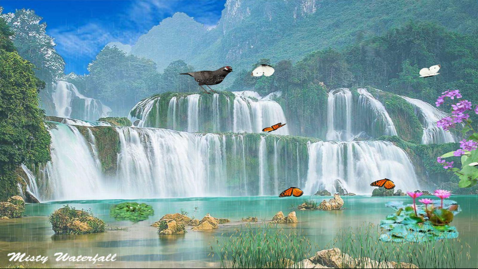 Misty Wasserfall Hintergrundbild [Download]