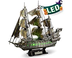 CubicFun LED Pirates of the Caribbean Flying Dutchman Model Kits for Adults to Build 3D Jigsaw Puzzles Ship Model Bulding Gif