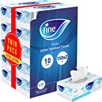 FINE Facial Tissues - Pack of 10 Boxes, 150 Sheets x 2 Ply