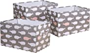 Lush Decor Whale Fabric Covered 3 Piece Collapsible Storage Box Set, 14