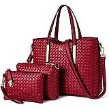 TIBES Moderiktig PU-läder handväska + axelväska + plånbok 3 st väska