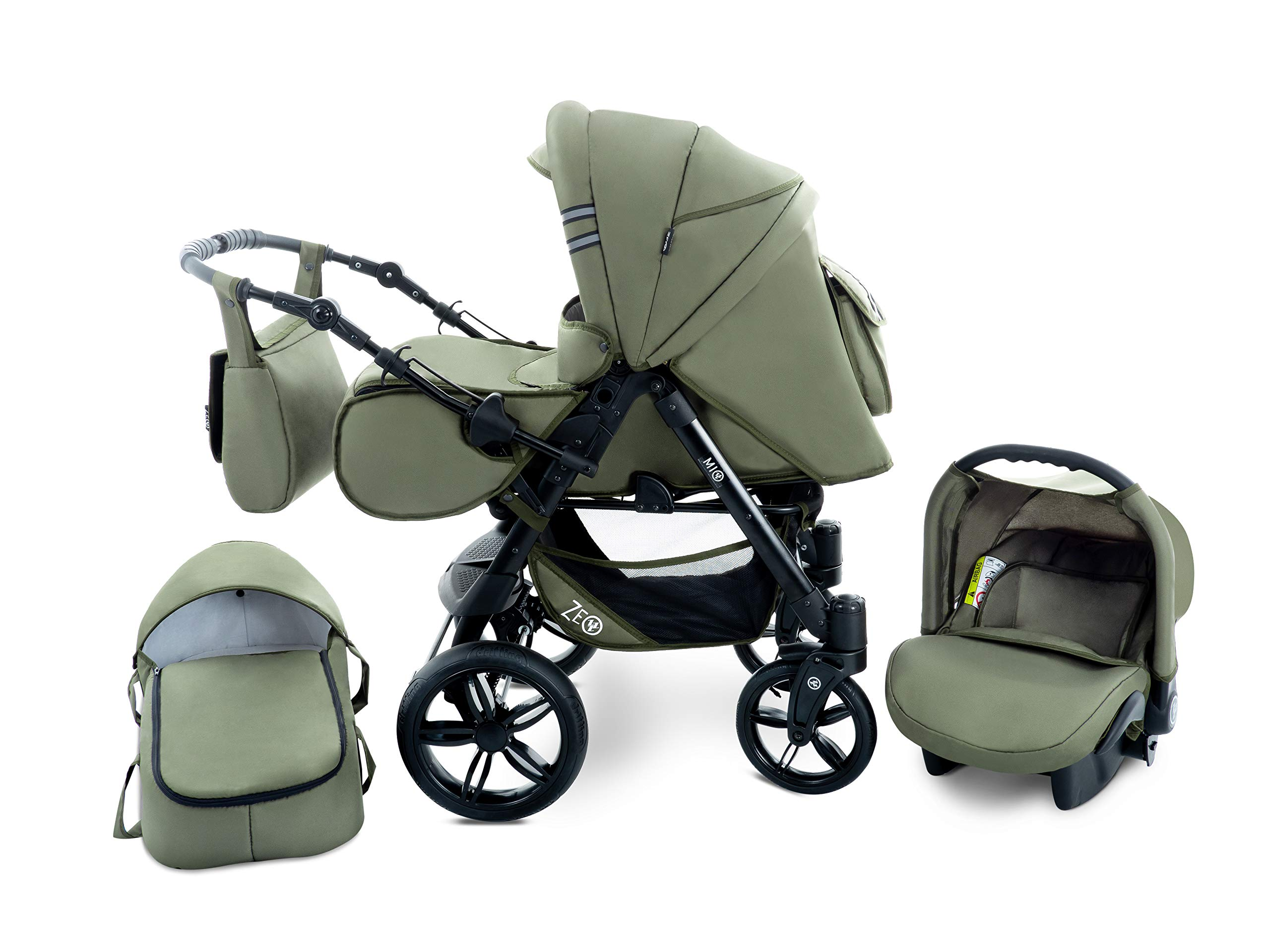 Baby Pram Zeo Mio 3in1 Set - All You Need! carrycot Gondola Buggy Sport Part Pushchair car seat (M1)  3 in 1 combination stroller complete set, with reversible handle to the buggy, child car seat or baby carriage Has 360 ° swiveling wheels, two-fold suspension, four-stage backrest, five-position adjustable footrest and a five-point safety belt The stroller can be easily converted into other functions and easy to transport 1