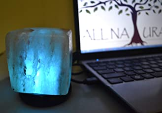 ALL NATURALS Himalayan Rock Salt USB Lamp Cube Shaped Unique Diwali Gift 3.5 Inch Height Color Changing LED for Home, Office, Study, Peace, Harmony & Decor, Unique Gift