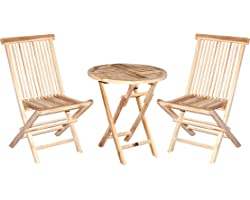CHICREAT - Ensemble 3 pièces pour balcon en teck chaise pliante table pliante ronde Ø60cm ensemble bistro 3 pièces en teck