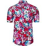 fohemr Mens Flower Shirt Short Sleeve Floral Print Casual Button Down Hawaiian Shirt 100% Cotton