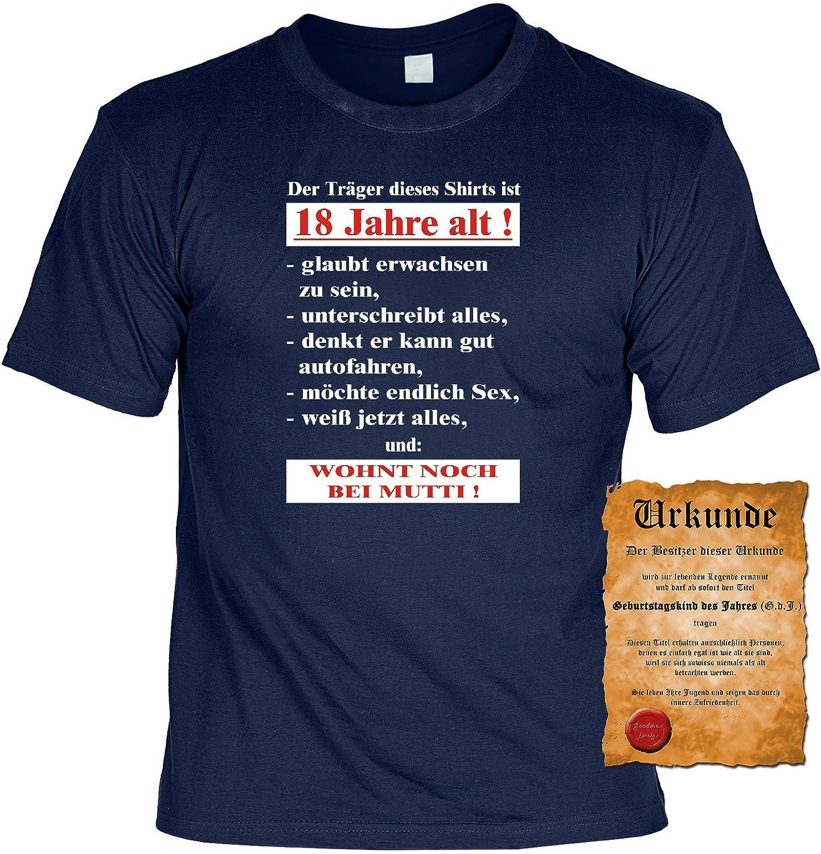 Geburtstag Lustiges Geburtstags T Shirt : Der Träger Dieses Shirts Ist 18  Jahre Alt!... Mit Gratis Urkunde !: Amazon.de: Bekleidung