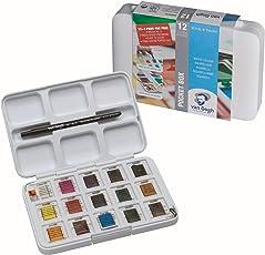 Vangogh Pack Of 12 Watercolors + 3 Pocket Box + Brush # 6 - Water Color Box Hp8631+3 - Artist Portable Watercolour Set Of 15 Colors