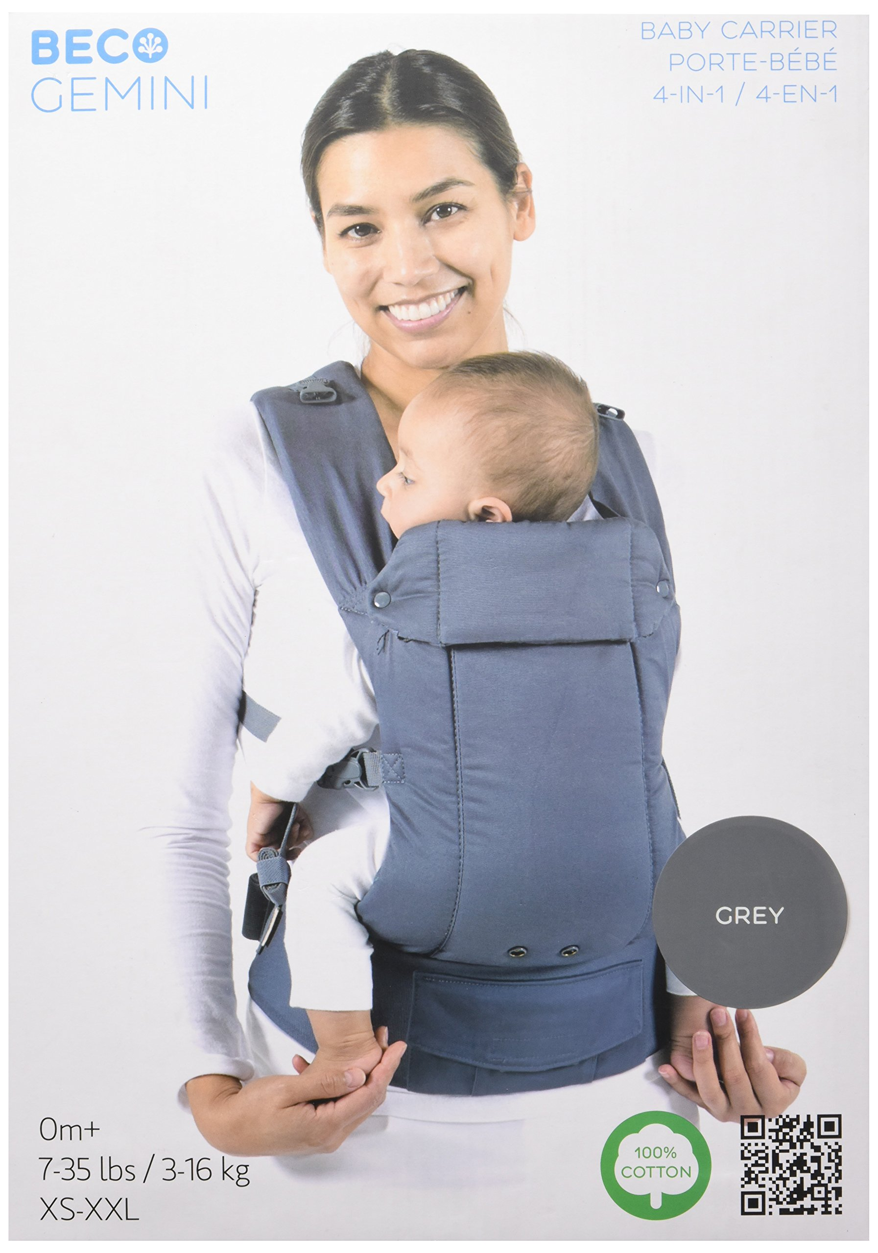 Beco Gemini, Grey - Front Carry Facing-Out Baby and Toddler Carrier Beco Beco's first front carry, facing-out carrier, the Beco Gemini is a 4-in-1 baby carrier offering four comfortable carrying positions - front facing in, facing out, hip and back carry. A comfortable, practical baby carrier with a definite sense of style. The Beco Gemini features a supportive waistband and wide padded shoulder straps that can be worn backpack style or crossed on your back for discrete nursing and better weight distribution. The padded headrest can flip up for neck support or can be cuffed down and fastened with snaps. When baby wants to face out, the headrest also serves as a padded spot for their head or chin to rest against. Birth to toddler, the Beco Gemini is easy to use, super comfy and keeps your precious bundle close to your heart and makes it easier for you to get on with your day to day. 1