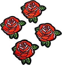 Eerafashionicing Handmade Designer Red Rose Patches for Dresses and Home Decor - Pack of 5Pcs