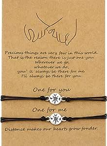 2 Pezzi Braccialetto di Amicizia Bracciali Intrecciati a Mano di Corrispondenza Regalo per Amico Coppia Amante Ragazze, Braccialetti di Corda Regolabili con 1 Carta di Desideri
